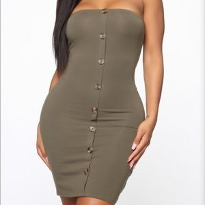 Fashion Nova Fitted Olive Button Dress